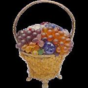 "Czech Glass Fruit and Glass Flowers Basket Lamp ""Glass Flower Basket:"""