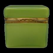 "Antique French Satin Glass Casket  "" YUMMY KIWI GREEN """