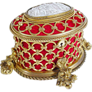 """Glorious 8"""" Antique French Tahan w Big Cameo Casket Hinged Box"""