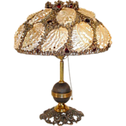 SALE Magnificent Jeweled Shell Lamp