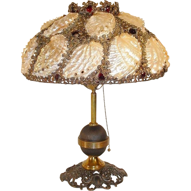 Magnificent Jeweled Shell Lamp