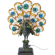 SOLD 1920 Czech Peacock Lamp