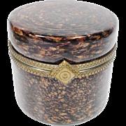 HUGE Vintage Murano Round Brown  and Bronze Hinged Box