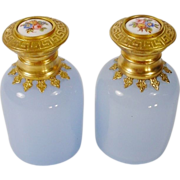 "PAIR  Antique French Lavender Opaline Scent Bottles ""'HP Porcelain Top"""