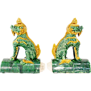 """SALE PAIR  Antique Chinese """"Foo Dogs"""" Roof Tiles."""