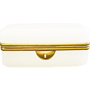 Pretty Antique French White Opaline Casket Box