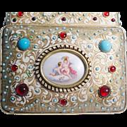 "Grandest Antique Austrian Jeweled ""Putti Plaque"" Casket Hinged Box"