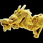 "SOLD LAYAWAY   GRANDEST Antique 18K Dragon Pin Pendant ""Ruby Eye"""