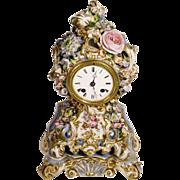 """SALE Very Fine RARE Antique 12"""" Jacob Petit Porcelain Flower Clock"""