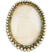 "SALE Antique French Jeweled Oval Table Top Frame ""Faux Pearls and Emeralds"""