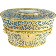 SALE Glorious Palais Royal Blue Opaline Scent Casket Hinged Box Covered in Gilt Ormolu