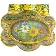 SALE Glorious Tahan Enamel Hinged Box with Hand painted Plaque