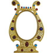 "SALE 9 ½"" Antique Austrian Bronze Jeweled Enamel Table Top Frame"