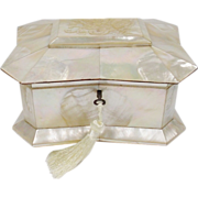 Glorious Antique French Mother of Pearl , Abalone,  Hinged Box