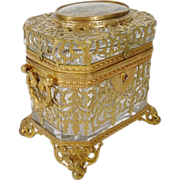"1880 French Eglomise Glass Box"" Gilt Ormolu Lace """