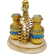 SALE 1880  Blue Opaline Scent Caddy with Two Blue Opaline Scent Bottle Draped in Gilt ...