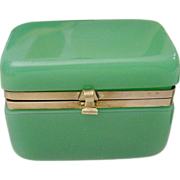SALE Sunning Antique French Green Opaline Hinged Box