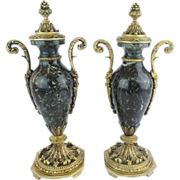 """SALE Antique French Marble &  Bronze Mounted Covered Urns """"EXQUISITE"""""""