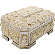 """11"""" Antique Mother of Pearl Hinged Box """"THE BEST"""""""