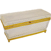 """SALE Antique French Diamond Cut Crystal Casket Hinged Box""""BACCARAT STYLE"""""""