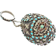 """SALE Antique  Silver Jeweled Hungarian Purse Chatelaine """"EXQUISITE & RARE"""""""