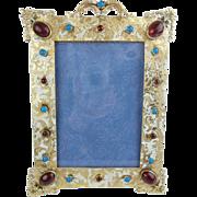 "SALE Antique  8 ¼"" Austrian Enamel Jeweled Bronze Table Frame"