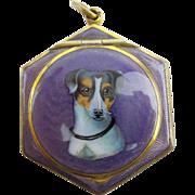 "SALE Antique Purple Enamel ""Jack Russell Dog"" Compact w/ Original Puff."