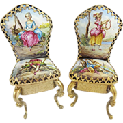 "SOLD Antique Vienna Enamel Miniature Chairs  ""A Wonderful PAIR"""