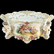 "SALE 21""  Antique Porcelain Center Piece w Putti's and Pastoral Scenes ""MASSIVE MASTE"
