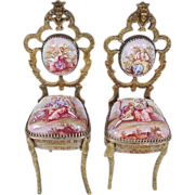 SOLD Exquisite Antique Viennese Enamel Miniature Chairs…Simply the BEST!