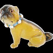 """SALE Antique Porcelain German Pug """"BLUE BOW"""""""