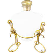 "SALE Antique French White Opaline Scent Bottle ""Fancy Gilt Ormolu Stand """