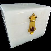 Antique French Alabaster Jeweled Hinged Box