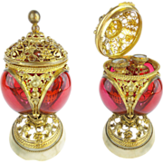 """SOLD Antique 9"""" French Palais Royal RED Scent Caddy  """"RED  BOTTLES"""""""