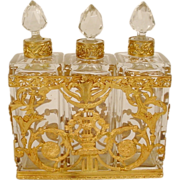 """SOLD Antique French Empire Style Scent Casket """"Three Bottles"""""""