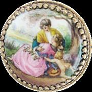 "SOLD Antique Austria Enamel Miniature Round Table  ""PUTTI"""