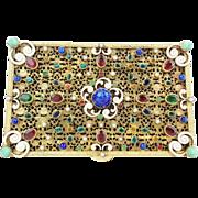 SALE Antique Austrian Bronze Enamel Jeweled Hinged Box