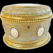 """SALE Palais Royal Opaline Scent Casket """" Fabulous Gilt Ormolu Lace"""""""