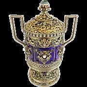 "SALE Antique Jeweled Enamel Covered Silver Double Handle Urn ""PEARLS,GARNETS,EMERALDS &JA"