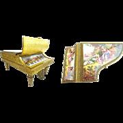 "SALE 7"" Antique Austrian Enamel Musical Piano Harpsichord"