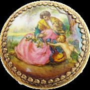 "SALE Antique Austria Enamel Miniature Round Table/ Stool  "" Pastoral Scenes w/ Putti"""