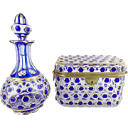 "SALE Antique Cobalt Cut to Clear Casket Hinged Box & Matching Scent Bottle ""RARE PAIR"""