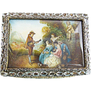 SALE Antique Jeweled Hand Painted Miniature Compact Hinged Box