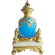 "Palais Royal Blue Opaline Scent Bottle ""Regal Alabaster Footed Plateau"""