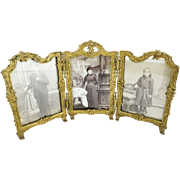 SALE Antique French Gilt Bronze Triple Frame