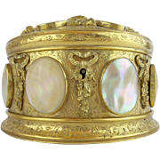 """SALE Antique French Gilt Bronze Mother of Pearl Oval Casket Hinged Box """"MAGNIFICENT"""""""