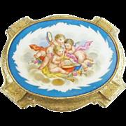 "SALE Antique French Gilt Bronze Hinged Box ""Three Cherubs Porcelain Plaque"""