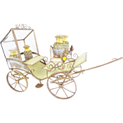 """15"""" Antique French Jeweled Bronze Carriage """"4 OPALINE BOTTLES"""""""