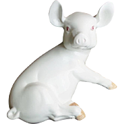 SALE Estate Vintage Italian Porcelain Pink Eyed Pig