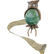 SALE Rare Antique Owl Tape measure with Glass Eyes.
